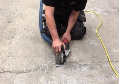 Bild 3 - Anvisningsskärning för infästning av golvräls