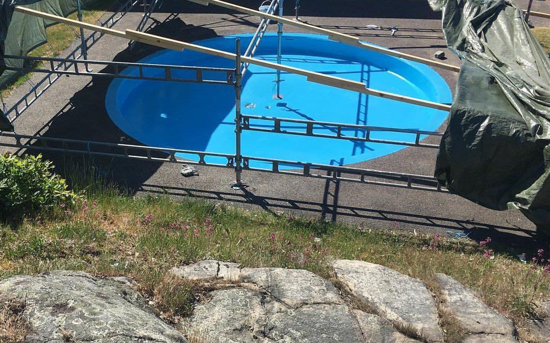 Lagning av bassänger på Lilla Amundön