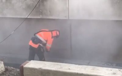 Sandblästring av motgjutningsytor på betongväggar i Åby